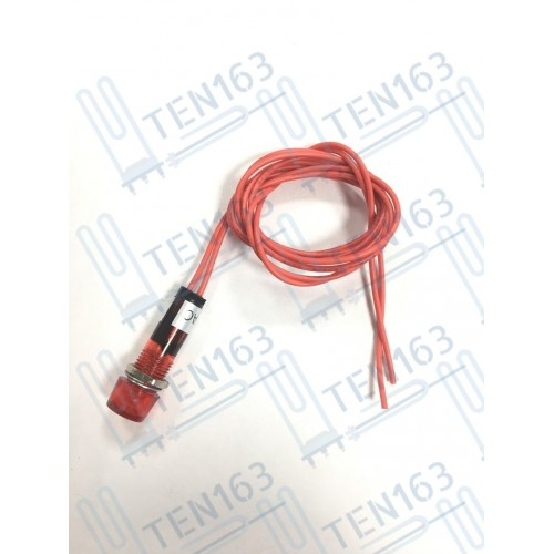 Индикаторная лампа с проводами 250 VAC красная